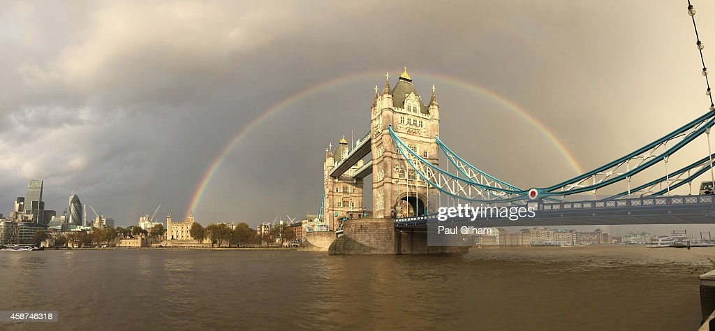 A view of a rainbow behind Tower Bridge on November 10, 2014 in London, England.