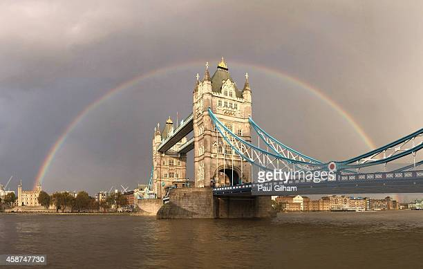 A view of a rainbow behind Tower Bridge on November 10 2014 in London England