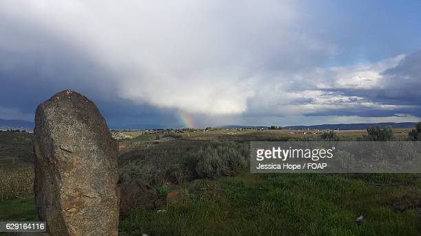 view of a rainbow - hope imagens e fotografias de stock