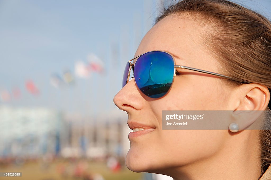 A view of a reflection of the Olympic Cauldron in sunglasses at the Olympic Park during the Sochi 2014 Winter Olympics on February 15, 2014 in Sochi, Russia.