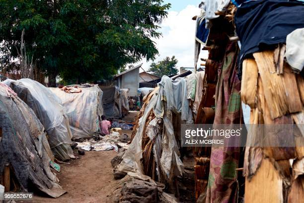 A view of a refugee camp situated in between a school and a catholic church in Kiwanja Rutshuru town North Kivu on May 4 2018 Hutus from villages in...