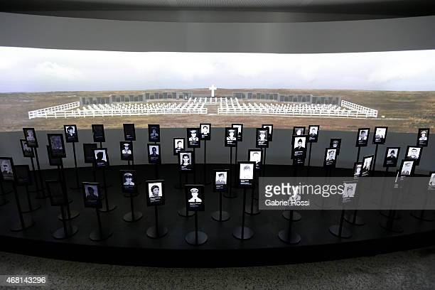 View of a replica of Darwin Cemetery at Malvinas e Islas del Atlántico Sur Museum on March 28, 2015 in Buenos Aires, Argentina. On April 02, 1982...