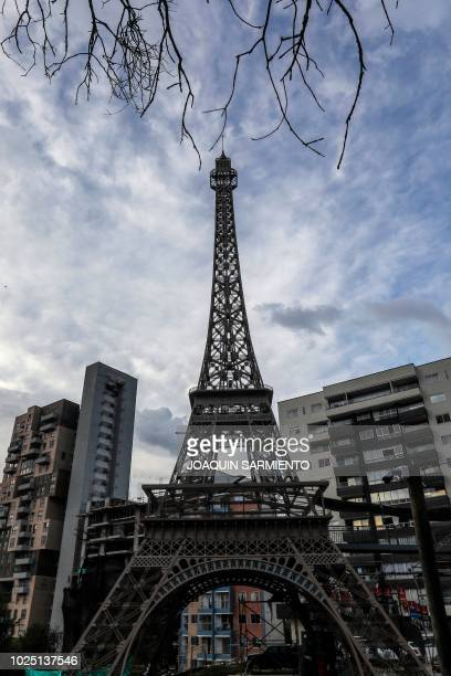 View of a replica of the Eiffel Tower built within a residential real estate project inspired in Paris in Sabaneta near Medellin Colombia on August...