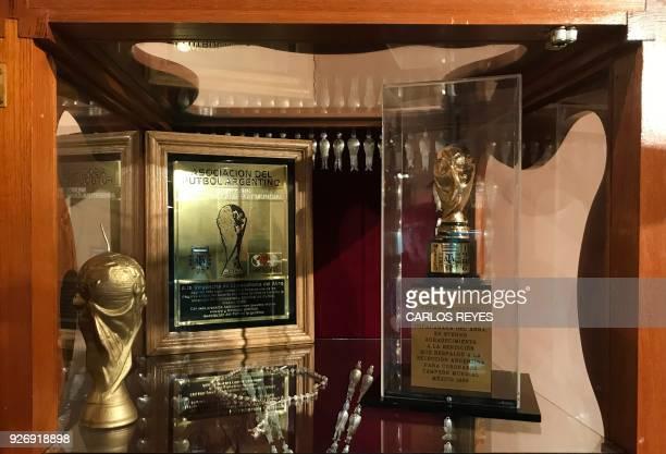 View of a replica of the FIFA World Cup trophy at the museum of the Virgin of Copacabana del Abra de Punta Corral in 'Nuesta Senora del Rosario'...