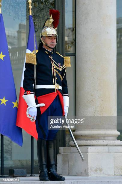 A view of a Republican guard as French President Emmanuel Macron receives Prime Minister of Andorra Antoni Marti for a meeting at Elysee Palace on...
