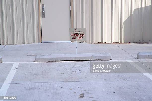 A view of a reserved Breaking Bad parking spot on the lot at Albuquerque Studios on March 16 2013 in Albuquerque New Mexico Sound stages were...
