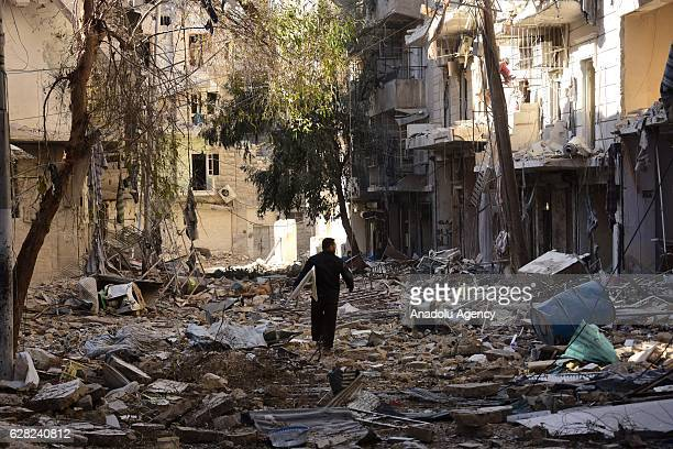 A view of a residential area in the eastern Aleppo under siege by regime forces Syria on December 06 2016 Around 300000 civilians in eastern Aleppo...
