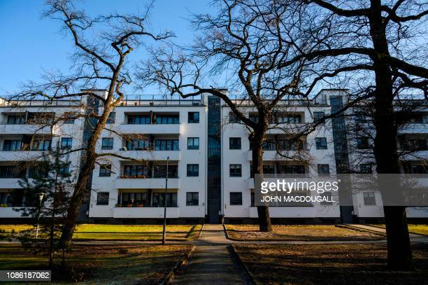 View of a residential complex part of the Siemensstadt Housing Estate in Berlin designed by Bauhaus architect Walter Gropius and built between 1929...