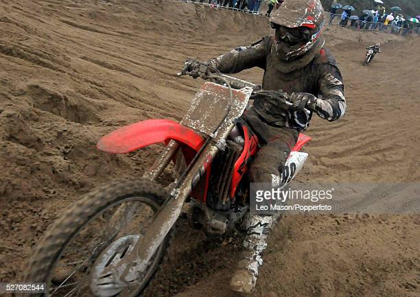View of a rider competing in the Senior Hawk solo bike race at the RHL Weston Beach Race in WestonsuperMare England on 13th October 2013