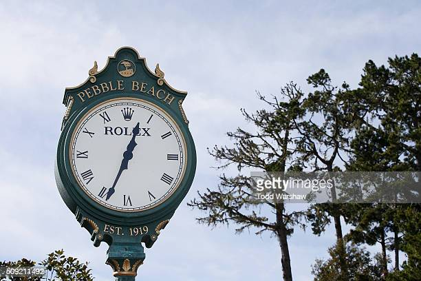 View of a Rolex clock near the 1st tee box prior to the AT&T Pebble Beach National Pro-Am at Pebble Beach Golf Links on February 9, 2016 in Pebble...