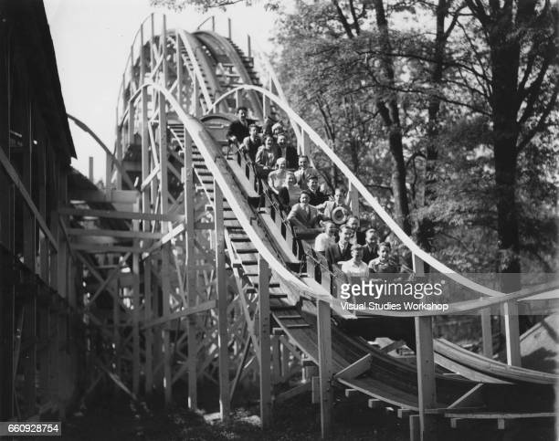 View of a roller coaster enthusiasts on a ride at an amusement park Washington DC 1920s or 1930s