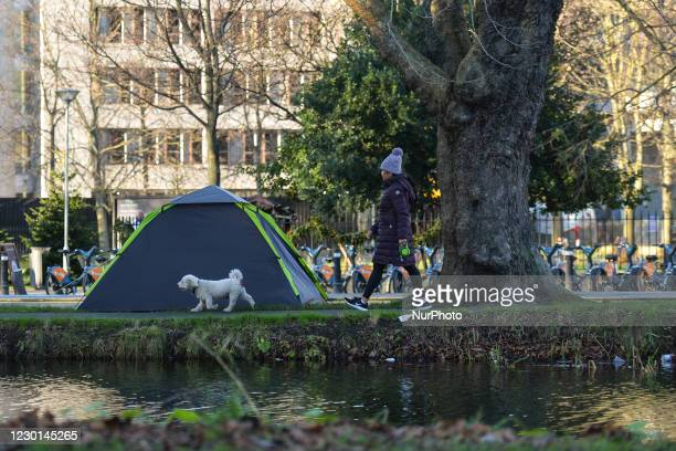 View of a rough sleeper's tent next to the Grand Canal in Dublin. As per November 25th, the deaths bring to over 57 the number of homeless people who...