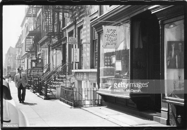 View of a row of art galleries on E 10th Street between 3rd and 4th avenues New York New York May 25 1960