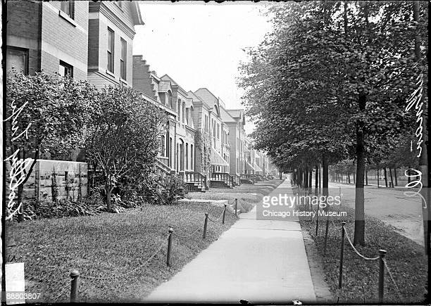 View of a row of residences in Pullman Illinois the company town created for workers of the Pullman Palace Car Company probably on the east side of...