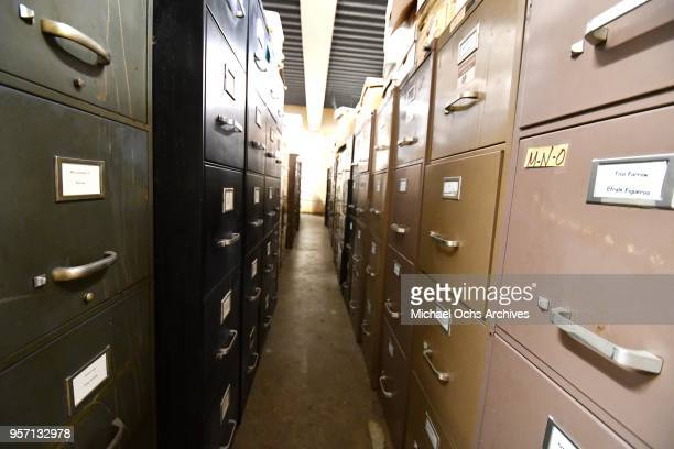A view of a rows of file cabinets in the Michael Ochs Archives on May 10 2018 in Los Angeles California