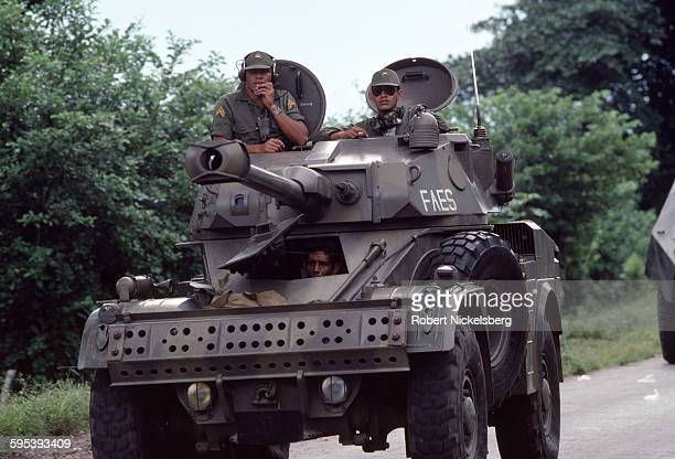 View of a Salvadoran Army armored car on a highway in central El Salvador June 1 1983 At the time the country was engaged in what became a 13year...