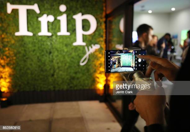 View of a Samsung Galaxy Note 8 during Jhene Aiko's TRIP launch party powered by Samsung at EB Gallery on September 22 2017 in Los Angeles California