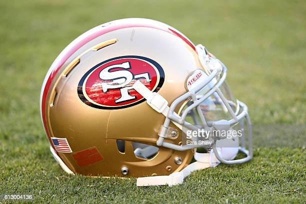 A view of a San Francisco 49ers helmet during warms up prior to their NFL game against the Arizona Cardinals at Levi's Stadium on October 6 2016 in...