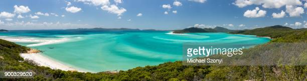 view of a sandy beach, whitehaven beach and hill inlet, great barrier reef marine park, whitsunday islands national park, whitsunday island, queensland - whitehaven beach stock photos and pictures