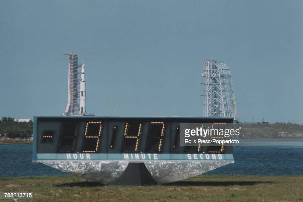 View of a Saturn V rocket on the launch pad at Kennedy Space Center during the countdown to launch the Apollo 16 crew of NASA astronauts Commander...