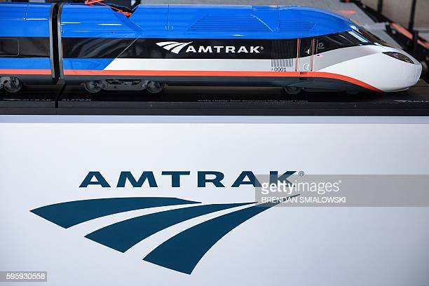 View of a scale model for the generation high speed Amtrak train after an event to unveil it at Amtrak's Joseph R. Biden, Jr., Railroad Station on...