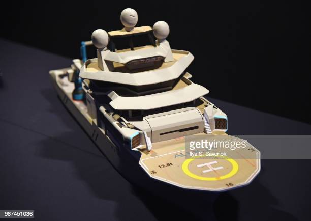A view of a scale model of OceanX's forthcoming marine research and media vessel the Alucia2 on display during the Launch Of OceanX a bold new...