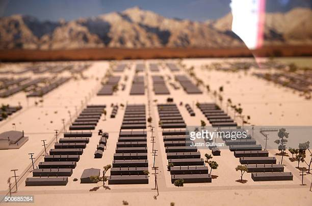 A view of a scale model of the Manzanar War Relocation Center is displayed at Manzanar National Historic Site on December 9 2015 near Independence...