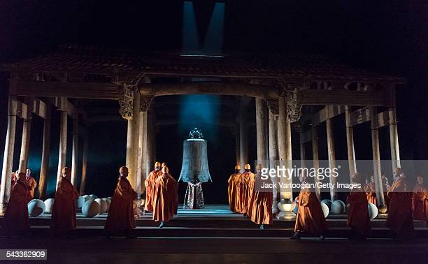 View of a scene during the final dress rehearsal prior to the season premiere of the Canadian Opera Company/Zhang Huan production of 'Semele' at the...