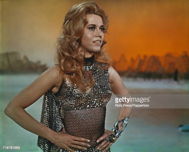View of a scene from the Roger Vadim directed science fiction film Barbarella with American actress Jane Fonda pictured in character as Barbarella...