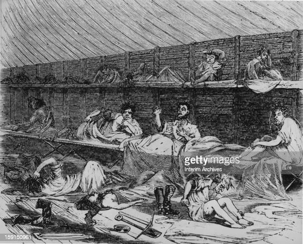 View of a scene in a lodging house for recently arrived migrants to California often comprised of men hoping to strike it rich in gold mining mid...