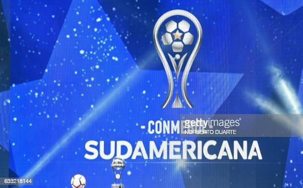 View of a screen with the new logo of the Copa Sudamericana during the draw for the 2017 tournament in Luque Paraguay on January 31 2017 / AFP /...