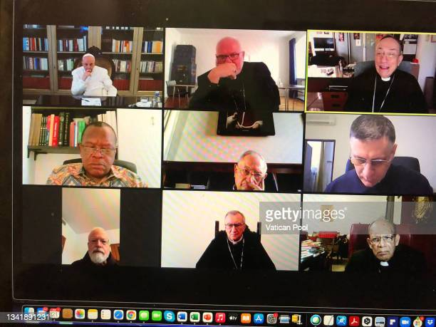 View of a screening featuring Pope Francis as he attends the Council of Cardinals from his residence Casa Santa Marta on September 21, 2021 in...