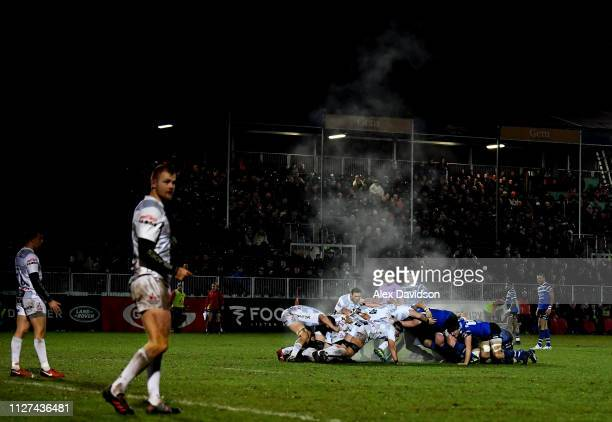 View of a scrum during the Premiership Rugby Cup match between Bath Rugby and Gloucester Rugby at Recreation Ground on February 04, 2019 in Bath,...