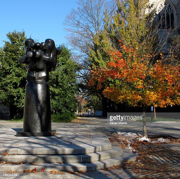 View of a sculpture entitled 'Song of the Vowels' between Firestone Library and the chapel on the Princeton University campus Princeton New Jersey...