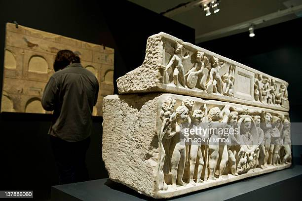 View of a sculpture on display during the Rome The Life and Emperors exhibition at the Art Museum of Sao Paulo on January 28 in Sao Paulo Brazil The...