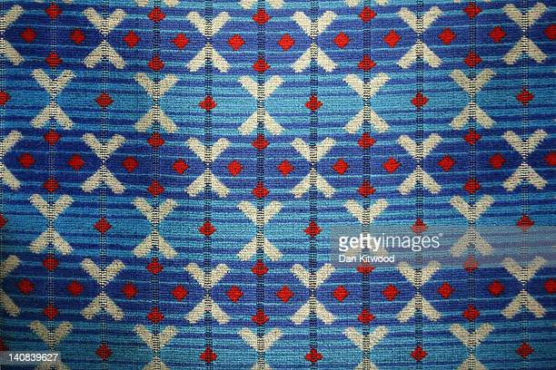 A view of a seat cover on a London Undergound carriage on February 14 2012 in London England London's underground rail system commonly called the...
