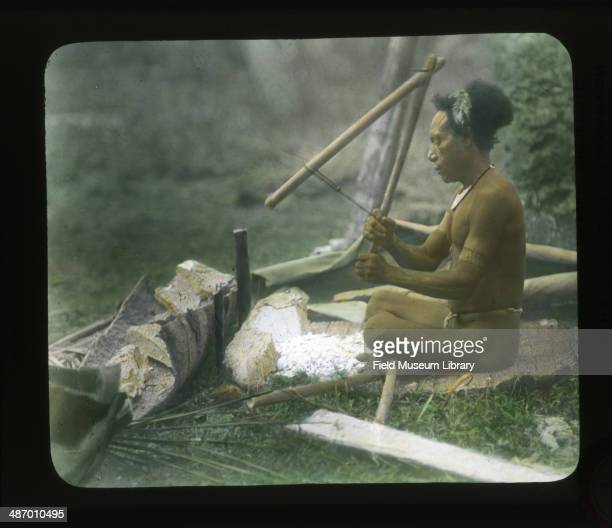 View of a seated man beating or chipping out sago from large pieces of pith Vailala Wallis Island August 1 1909