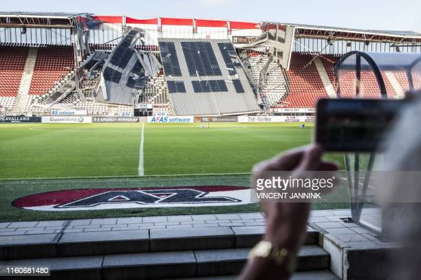 View of a section of the collapsed at the AZ Alkmaar football club's AFAS Stadium in Alkmaar on August 10, 2019. / Netherlands OUT