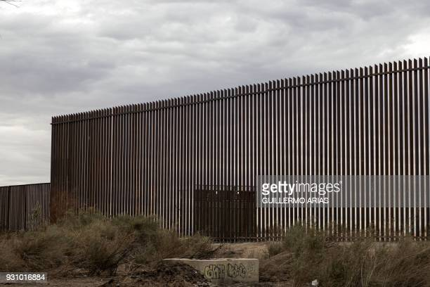 View of a section of the new border fence between Mexico and the US in Mexicali Baja California state Mexico on March 10 2018 President Trump is...