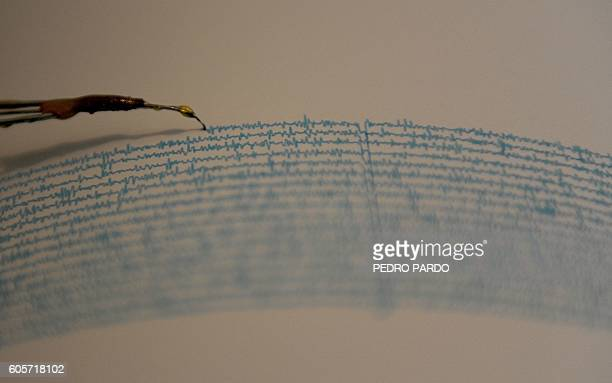 View of a seismograph at the National Seismological Service in the campus of the National Autonomous University of Mexico in Mexico City on September...