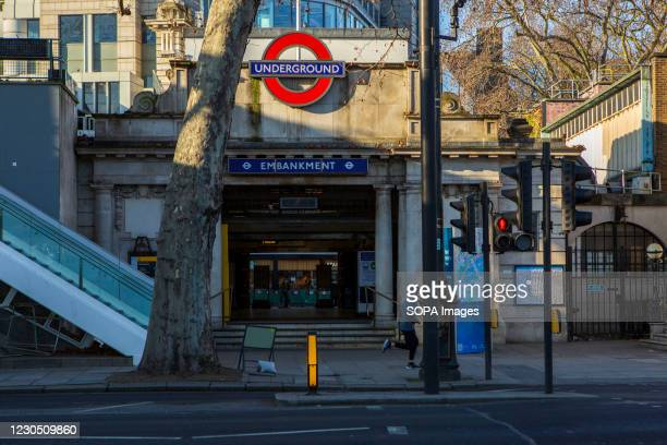 View of a semi deserted Embankment Station.