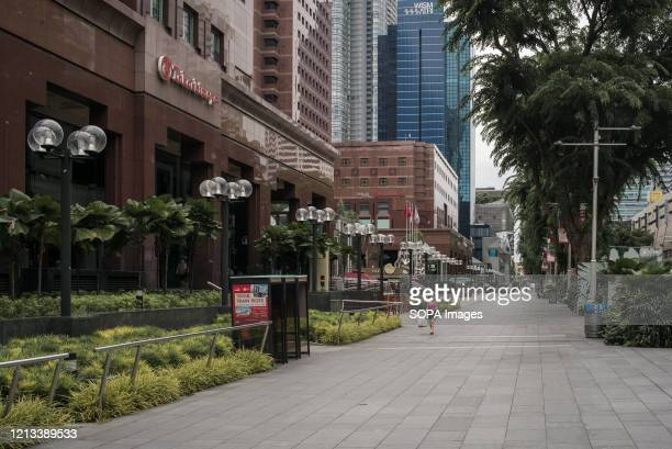 View of a semi deserted Orchard Road, a famous shopping district in Singapore, during the Coronavirus crisis. Singapore has so far confirmed 27,356...