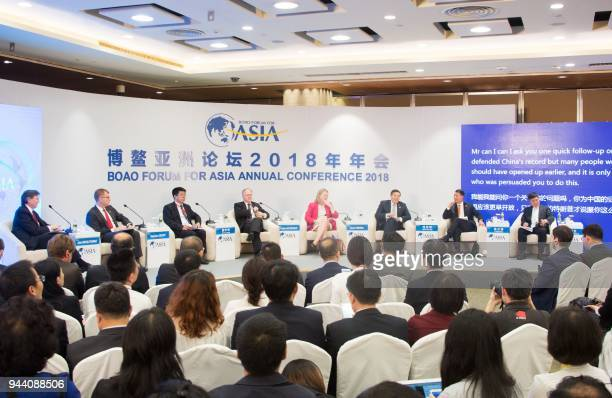 A view of a session of the Boao Forum for Asia Annual Conference 2018 in Boao south China's Hainan province on April 10 2018 The BFA annual...