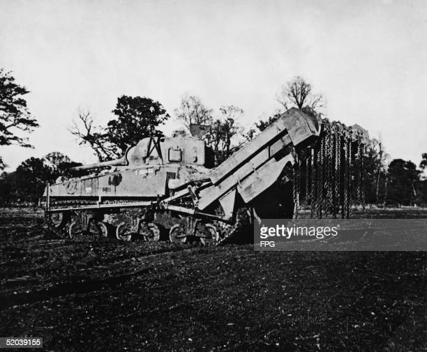 View of a Sherman Crab 'flail' tank mid 1940s Used for clearing minefields it is a Sherman tank with the addition of hydralically lifted pair of arms...