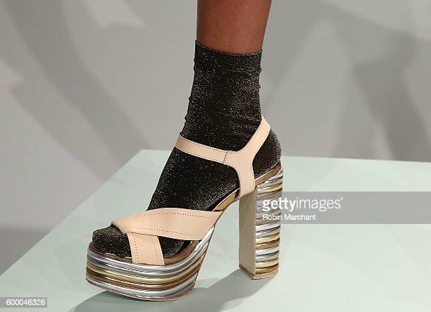 A view of a shoe at Michelle Helene presentation September 2016 during New York Fashion Week at Pier 59 Studios on September 7 2016 in New York City