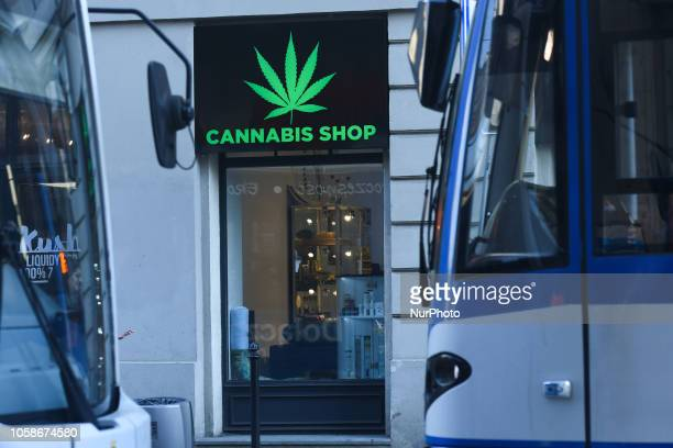 A view of a shop window of Dr Ziolko Cannabis Shop a new shop opened in Krakow's city center On Wednesday November 6 in Krakow Poland