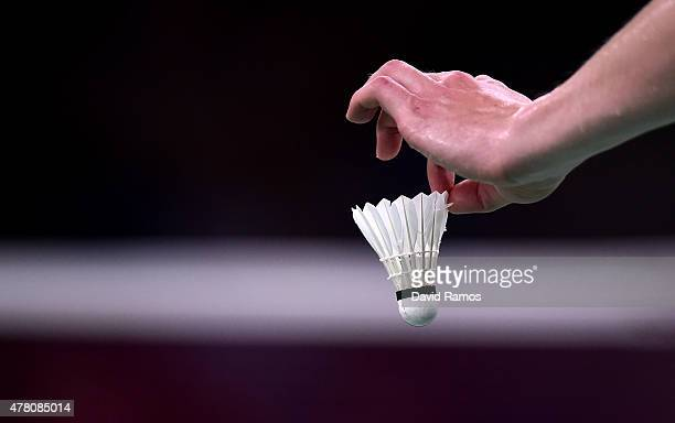 A view of a shuttle cock as a competitor prepares to serve during the Badminton matches on day ten of the Baku 2015 European Games at the Baku Sports...