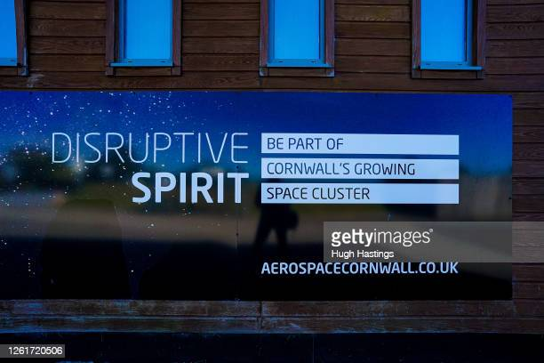 View of a sign about Aeropace in Cornwall at Cornwall Airport Newquay, where Virgin Orbit is seeking to provide launches from a Spaceport using a...