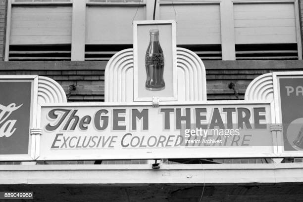 View of a sign on the marquee at 'the Gem Theatre Exclusive Colored Theatre' Waco Texas 1939