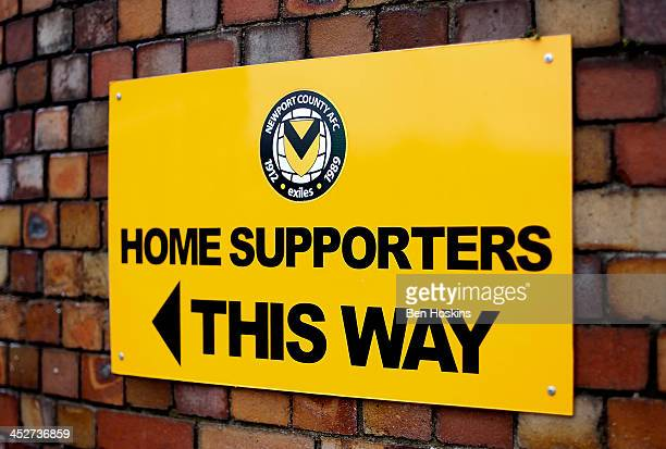 View of a sign outside the ground ahead of the Sky Bet League Two match between Newport County AFC and Chesterfield at Rodney Parade on December 01...